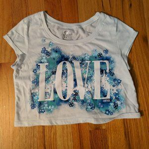Girl's 14 Justice Love White Crop Top
